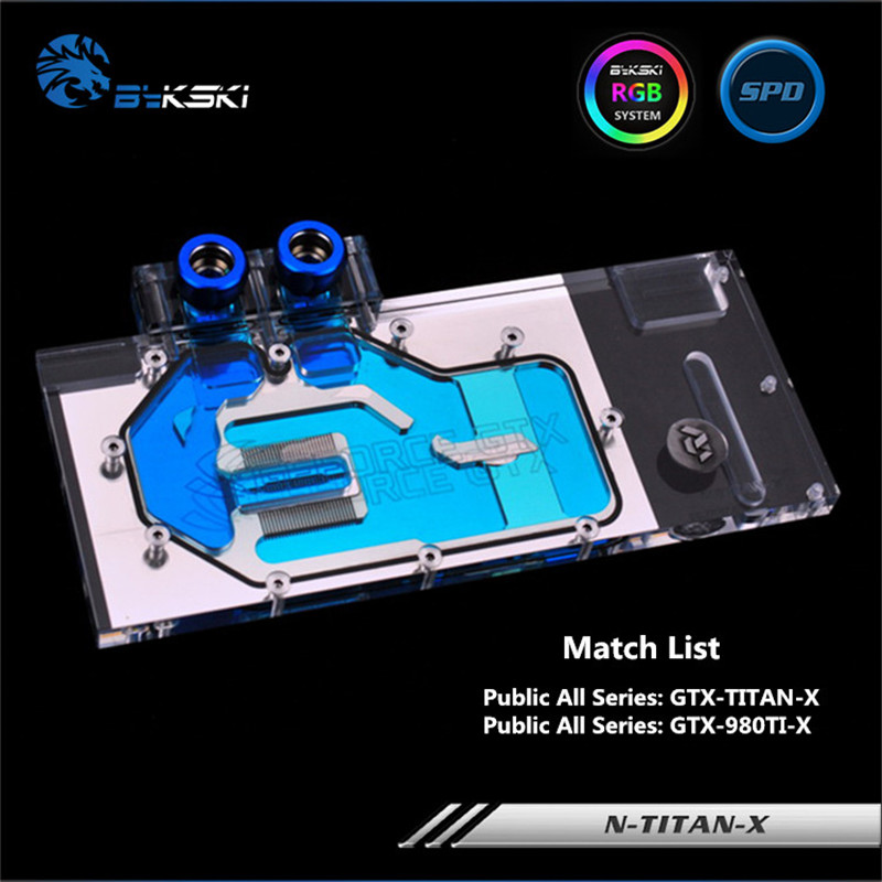 Bykski Full Coverage GPU Water Block For Public All Series GTX-TITAN-X GTX-980TI-X Graphics Card N-TITAN-X miller titan by honeywell ac qc xsbl aircore full body harness x small blue