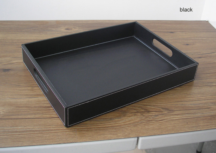 40x30 سنتيمتر مستطيل أسود جلد تخدم صواني الفاكهة المائدة الطعام bandeja التخزين صينية مع خفض التدريجي مقبض 295A-في أدراج التخزين من المنزل والحديقة على  مجموعة 2