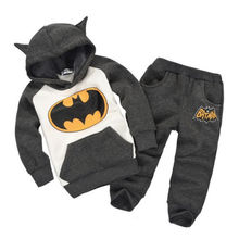 Children Clothing 2016 Outfits Baby Boy Cartoon Batman Tops Hooded Sweatshirt Hoodies Pants Clothes Sets