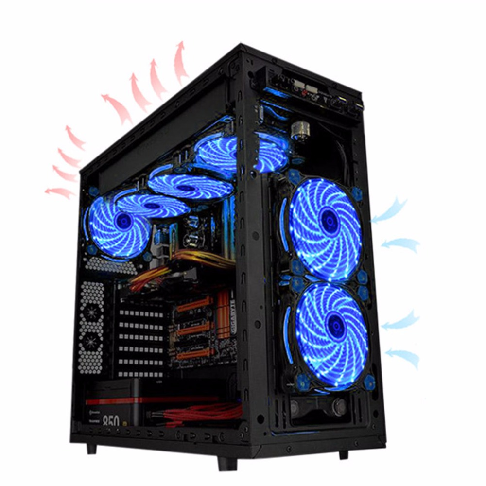 Ultra <font><b>Silent</b></font> Computer PC Case <font><b>Fan</b></font> 15 LEDs <font><b>12V</b></font> With Rubber <font><b>Quiet</b></font> Molex Connector Easy Installed <font><b>Fan</b></font> High Quality <font><b>120mm</b></font> LED image