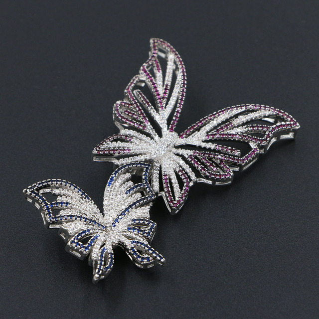 Multicolor Full Cubic Zirconia Crystal Double Butterfly Brooch Pins CZ Ladies Party Fashion Accessories