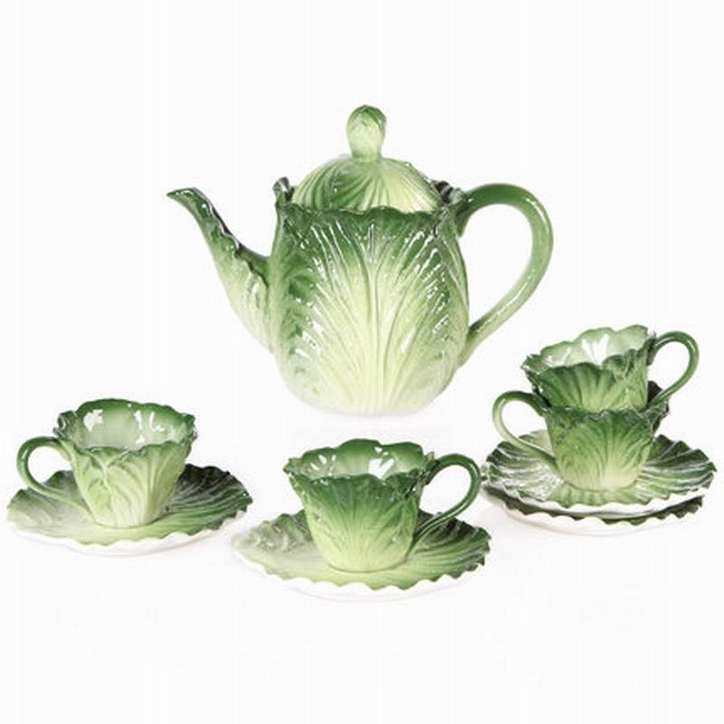 Ceramic tea set Simulated cabbage Tea cup ceramic teapot