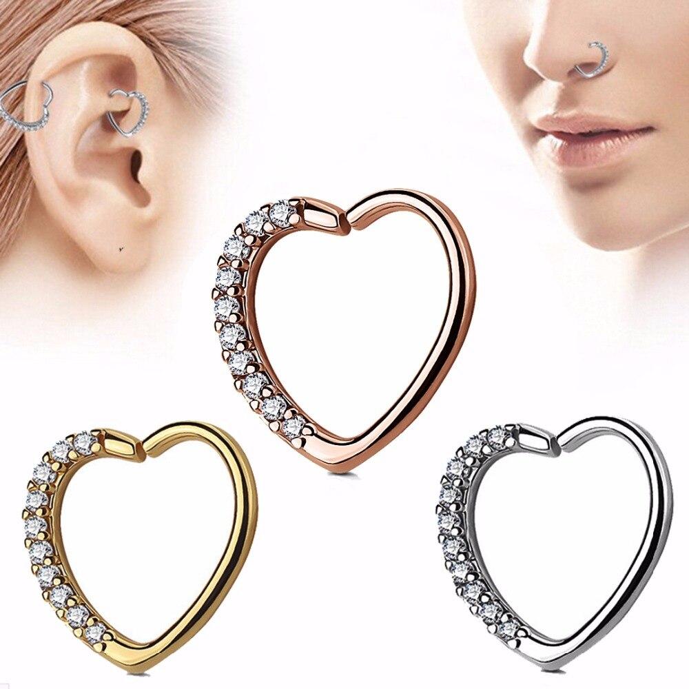 Bog-lote 1pc bronze orelha tragus cartilagem brinco com imprensa ajuste zircon cz coração argola daith piercing orelha cartilagem piercing jóias