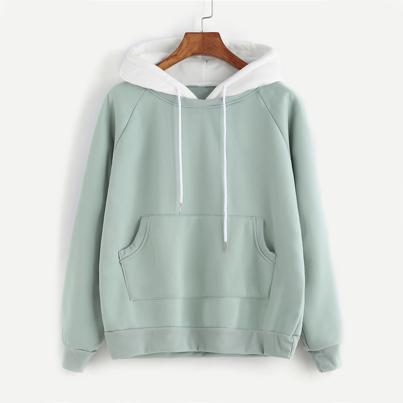 Pale Green Patchwork Hoodie for Women