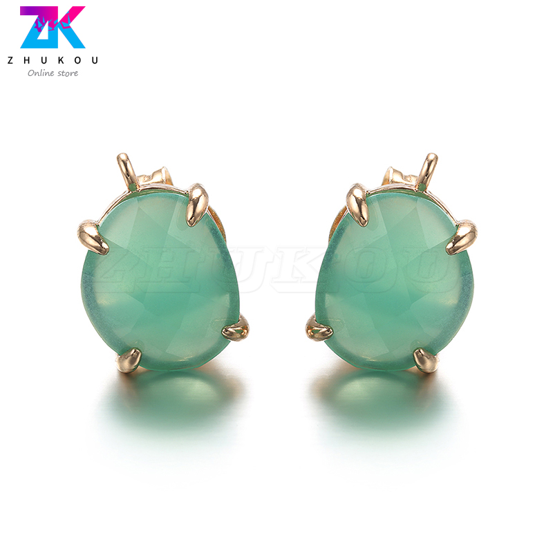 ZHUKOU 10x15mm Simplicity Brass Natural Pearl Irregular Ladies Stud Earring for Women Earring jewelry accessories making VE32A in Stud Earrings from Jewelry Accessories