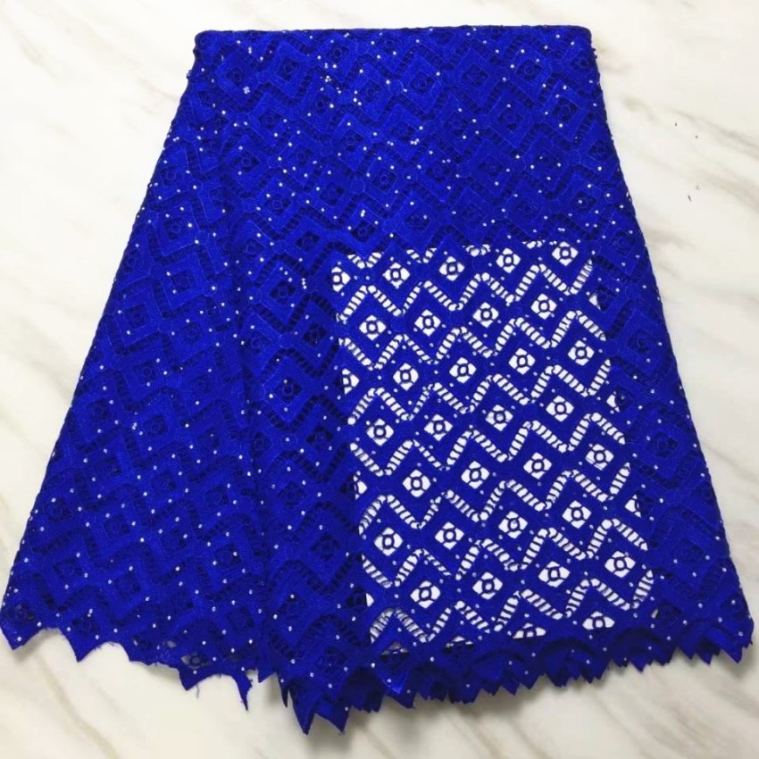 5Yards/pc Hot sale royal blue african water soluble lace embroidery french mesh cord lace with rhinestone for dress BW139-195Yards/pc Hot sale royal blue african water soluble lace embroidery french mesh cord lace with rhinestone for dress BW139-19