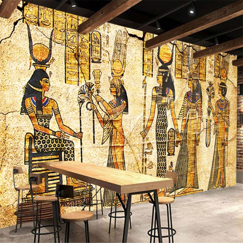 Beibehang Retro Vintage Egyptian Gods Tooling Wall Custom Large Mural Wallpaper Papel De Parede Para Quarto In Wallpapers From Home Improvement On