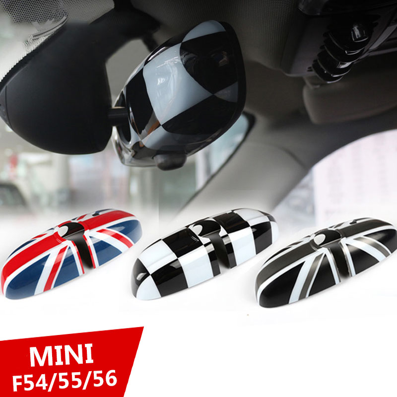 1Pcs Rearview Mirror Cover Interior View Mirror Shell Cover Car-styling For BMW Mini all series Union Jack Checkered