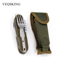 Army Green Folding Portable Knife Fork Spoon Bottle Opener for Camping Hiking