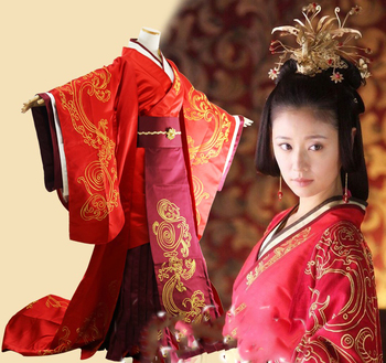 Han Dynasty Traditional Red Chinese Wedding Hanfu Costume for Emperer and Empress Wedding Costume TV Play Scheme of A Beauty han dynasty empress wu zetian cosplay hair empress hair tang empress hair chinese ancient hair for women