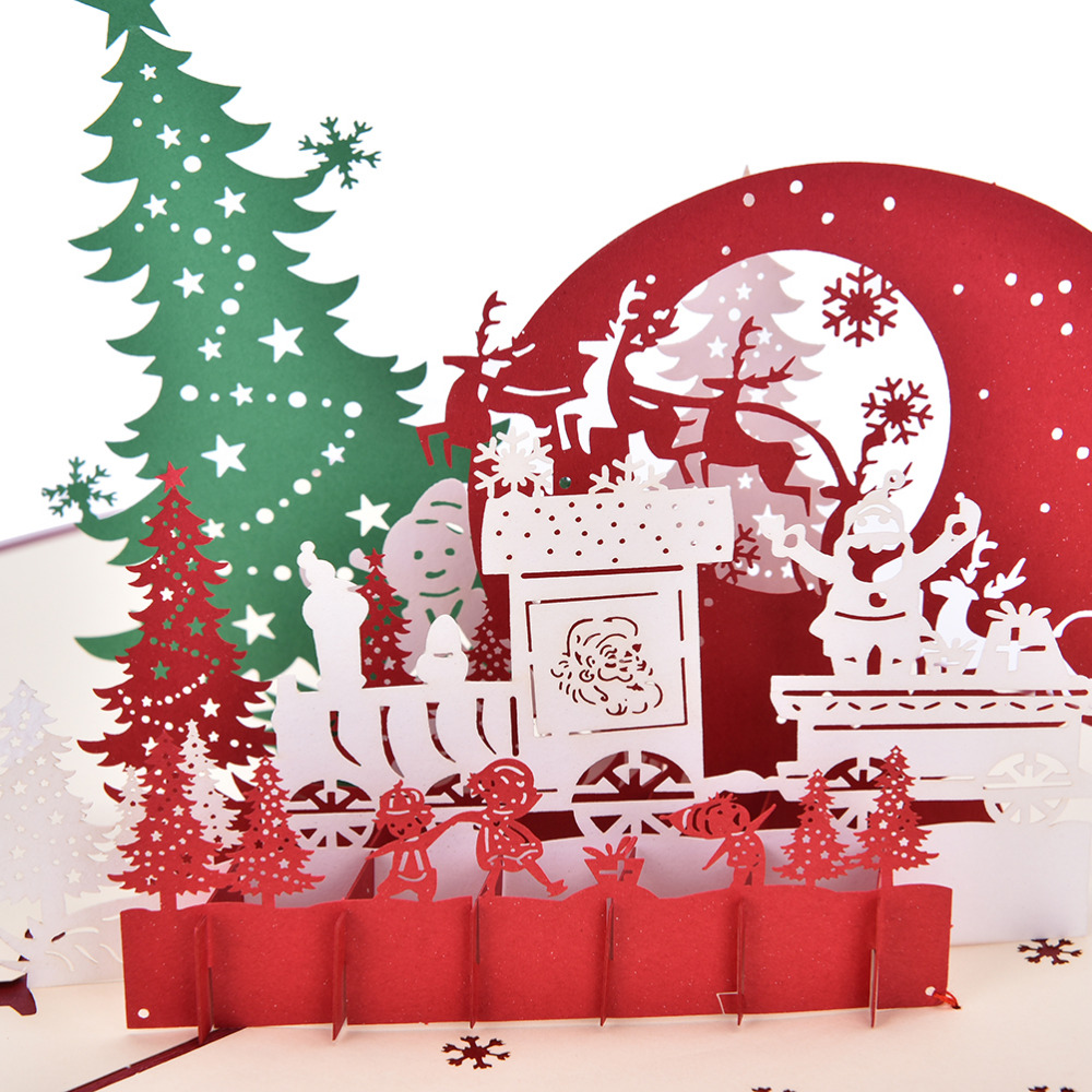 N2HAO New Year 3D Pop Up Greeting Card Pavilion Holiday Greeting ...