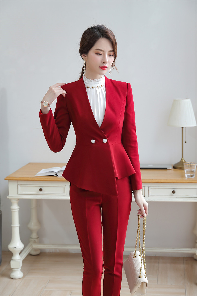 Novelty Red Formal Women Business Suits With Pencil Pants And Tops For Ladies Office Work Wear Blazers Sets Pantsuits