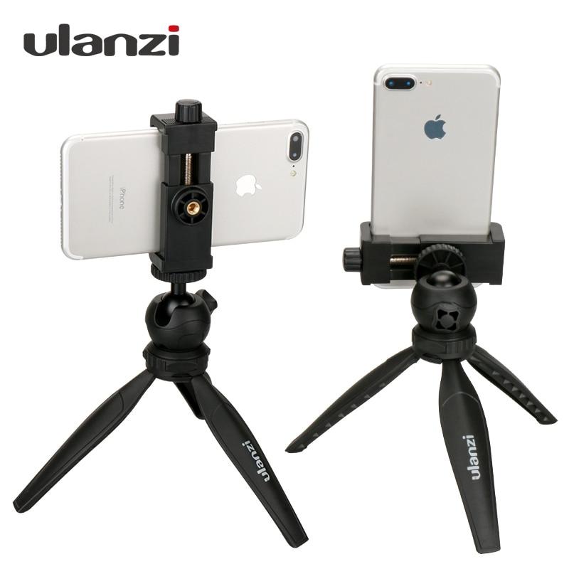 Ulanzi Mini teléfono trípode sobremesa Smartphone montaje Clip soporte w desmontable Ballhead para iPhone X/8/7 Plus Huawei Xiaomi