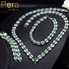 Pera Luxury Green Zircon Stone Bridal Wedding Necklace Earrings And Bracelet Sets For Brides Prom Party