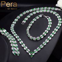 Pera Luxury Green Zircon Stone Bridal Wedding Necklace Earrings And Bracelet Sets For Brides Prom Party Costume Accessories J213