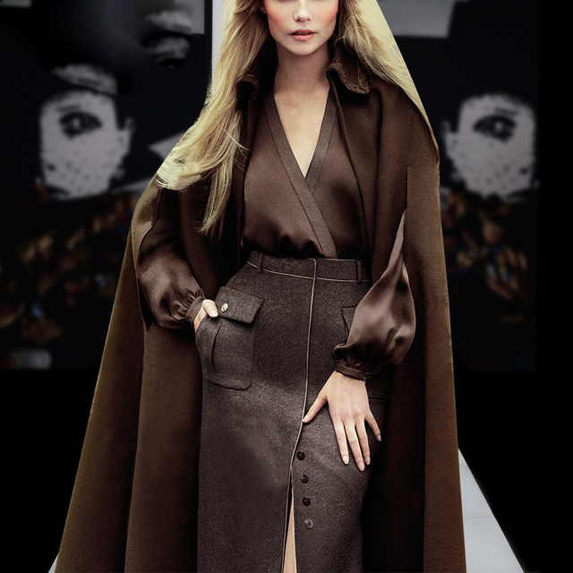 Europe And United States 2017 Early Spring New Fashion Shirt  + Wool Cloak Coat + Woolen Slit Skirt Three Piece Suits