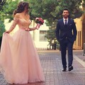 Vestidos De Festa Árabe Longo Rosa Lace Frisada Fora do Ombro Vestidos de Noite Para O Dia Dos Namorados Metade Mangas Formal vestidos