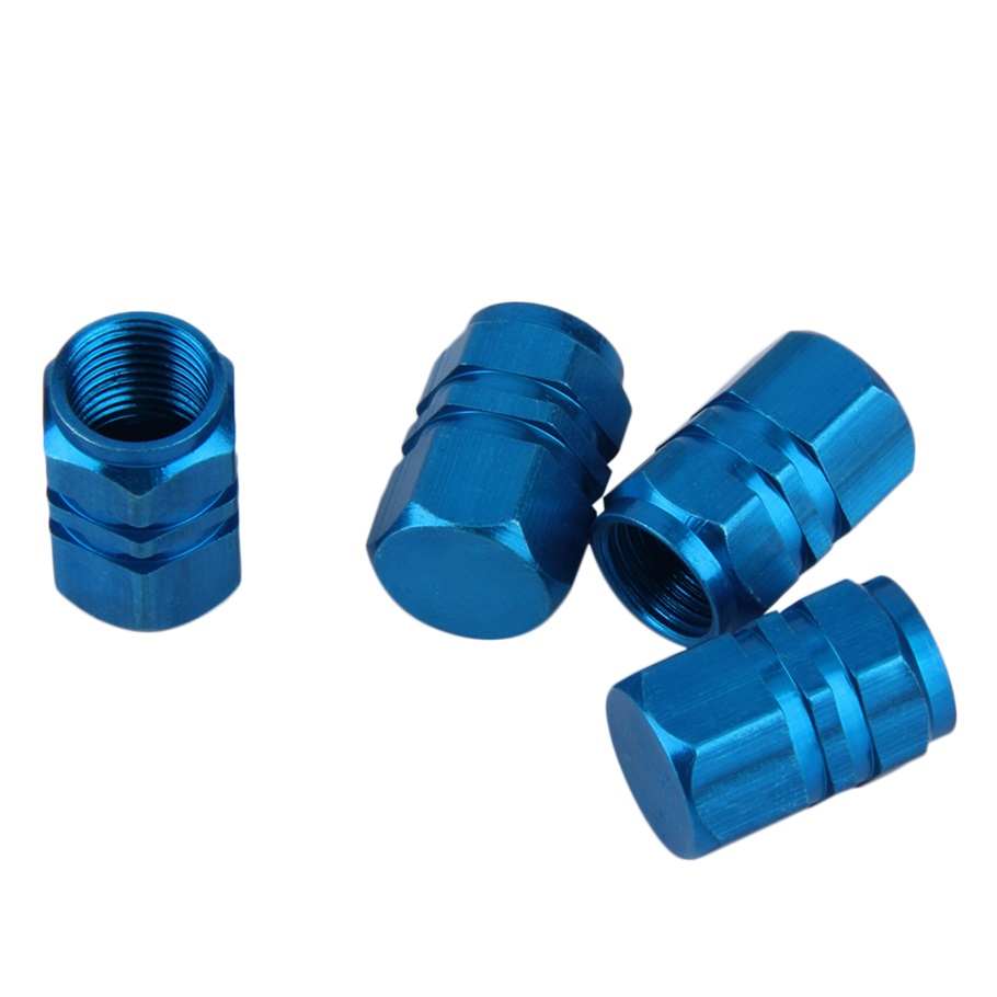New 4pcs/pack Theftproof Aluminum Car Wheel Tire Valves Tyre Stem Air Caps Airtight Cover blue color hot selling