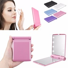 Купить с кэшбэком Makeup Cosmetic Folding Portable Compact Pocket Mirror with 8 LED Lights Lamps Do not Come with Battery 5pcs/lot P166