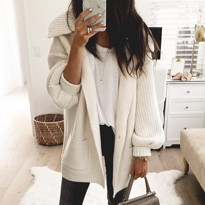 Aartiee Pocket Long button sweater 2019 Autumn winter Casual lantern Sleeve oversize sweater female Turn down collar Cardigan