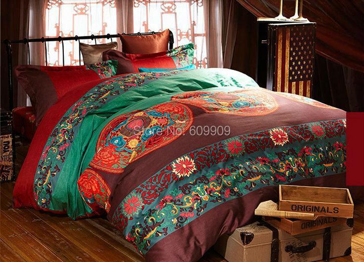 Egyptian Cotton Red Boho Style Bedding Queen Bohemian