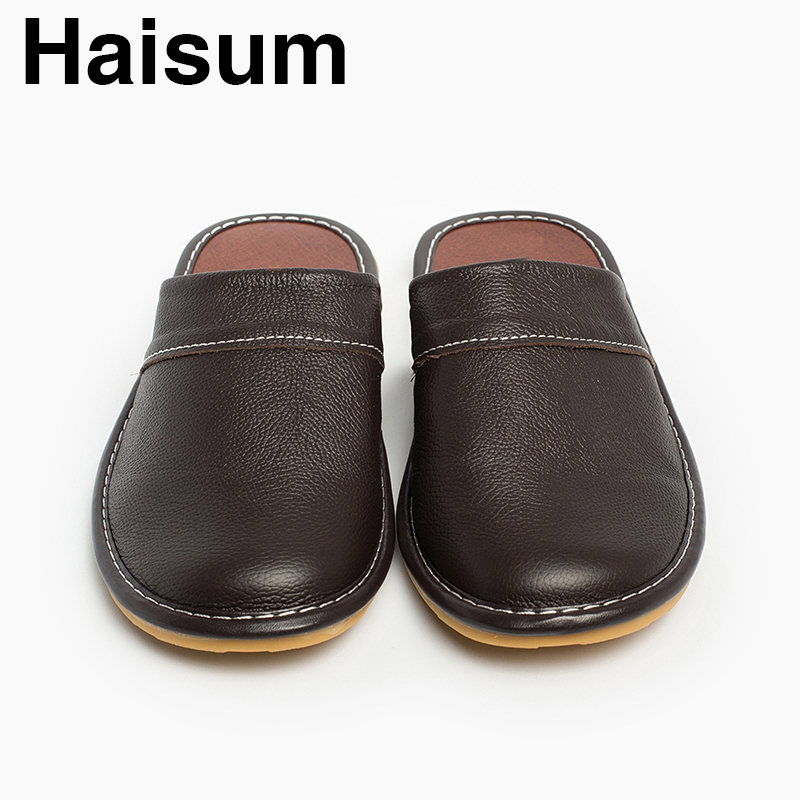 451526588983 Men  sslippers Spring And Autumn genuine Leather Home Indoor Non Slip  Thermal Slippers 2018 New Hot Haisum Tb008 -in Slippers from Shoes on  Aliexpress.com ...
