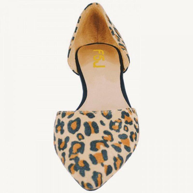 Bout Fsj01 Falts Taille Slip Double Profonde Chaussures Fsj Élégant Léopard Peu Troupeau 14 Sur Imprimé Grande Femme Pointu D'orsay Appartements f0ExxBqH