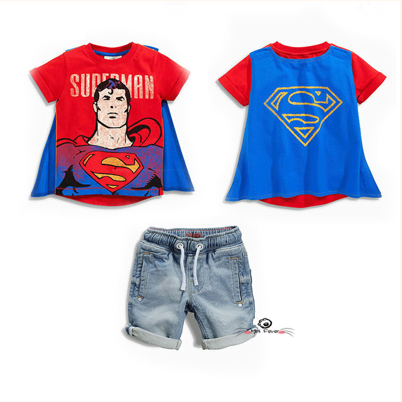 2017 kids Superman cape Batman suit kid Clothes Boys Summer Clothing Set Baby Cotton T-shirt Tees Kids Denim shorts costumes