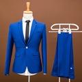 ( jacket + pants ) 2017 Men pure color fashion groom wedding dress suits / Mens social premium brand slim formal business suits