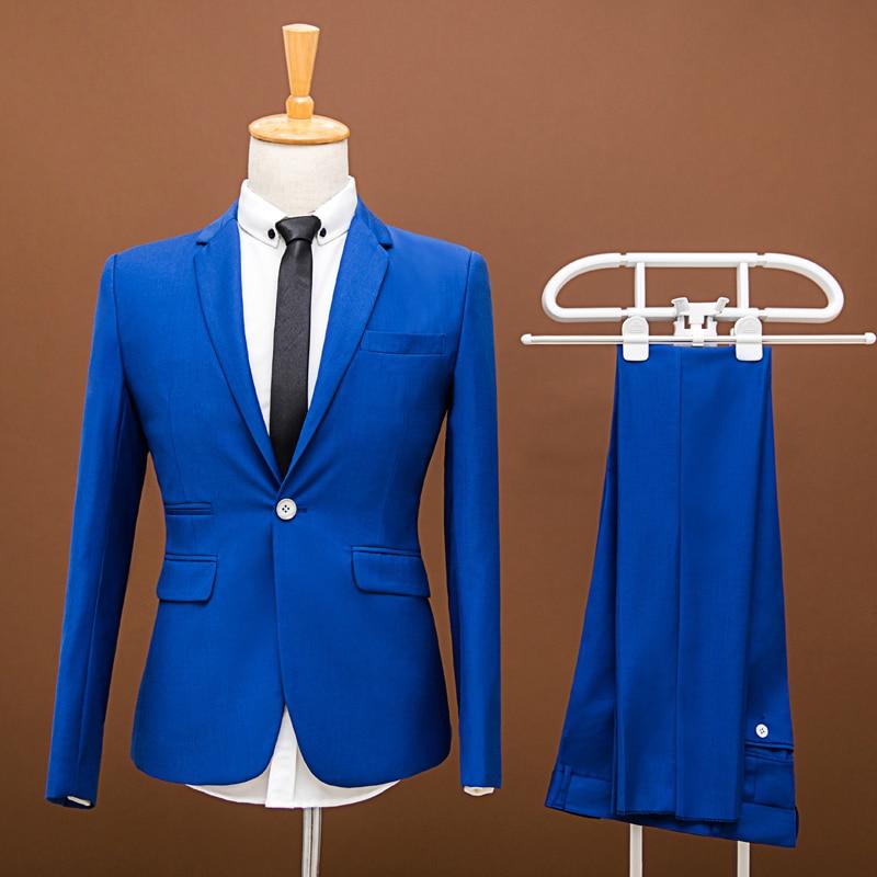 Jacket Pants 2018 Men Pure Color Fashion Groom Wedding Dress