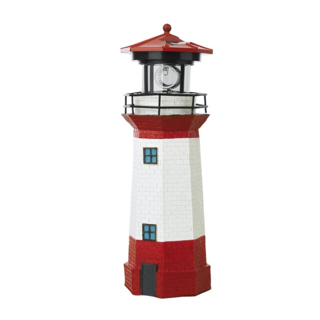 Solar Power LED Lighthouse Light with Rotating Light Beam 29CM Home Garden Decoration Fence Lawn Lamp Fairy Light