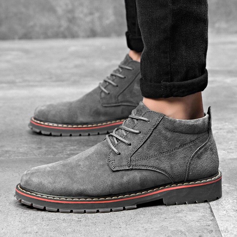Couro Casuais cinza Homens Inverno Negócios Sapatos Faux Botas Moda ever Marca Yd Outono Khaki De Dos Oxford preto Para Camurça XvHKq