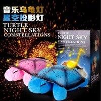 Musical noche de la tortuga de luz LED estrella del cielo de la novedad lámpara niños juguete música canción Iluminación luz del sueño del bebé en rosa amarillo verde azul