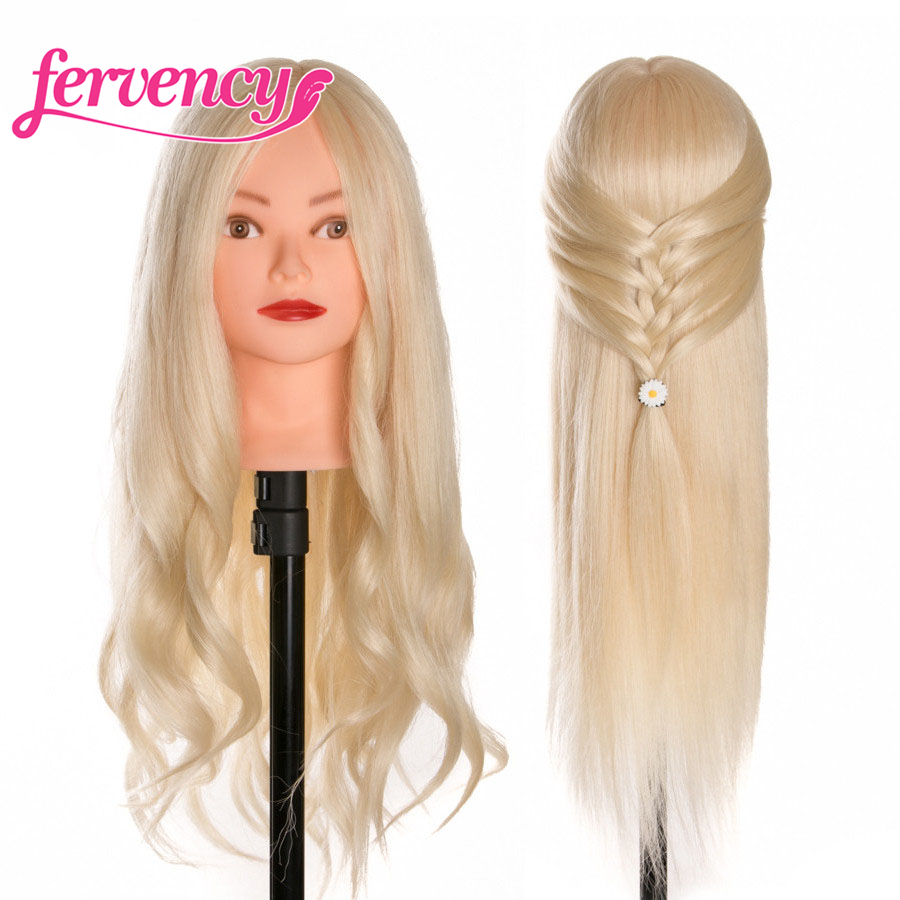 60 % Real Human Hair 2 piece Training Head blonde For Salon Hairdressing Mannequin Dolls professional styling head can be curled image