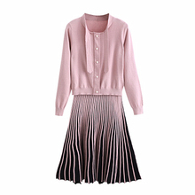 Spring And Autumn Long-sleeved Knit Bottoming Skirt Small Fragrance In The Long Dress Two-piece Suit New Women's Korean Version цены
