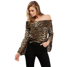 New Womens Tops and Blouses Autumn Word Collar Leopard Thin Shirt Women Off Shoulder Top Woman 2019 Long Sleeve