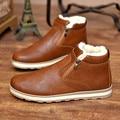 Мужчины высокого топ повседневная обувь с мехом 2016 зима теплая мужская марка обычная обувь черный коричневый синий плоские туфли chaussure XK092509