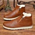 Los hombres de alta superior zapatos casuales de piel de invierno 2016 caliente llanura de la marca de los hombres zapatos negro marrón azul marino zapatos planos chaussure XK092509