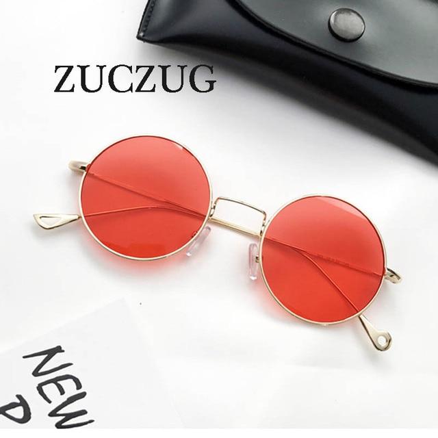 662de42a3f490 ZUCZUG Rodada Do Vintage óculos de Sol retro Vermelho lente transparente  óculos de sol Dos Homens