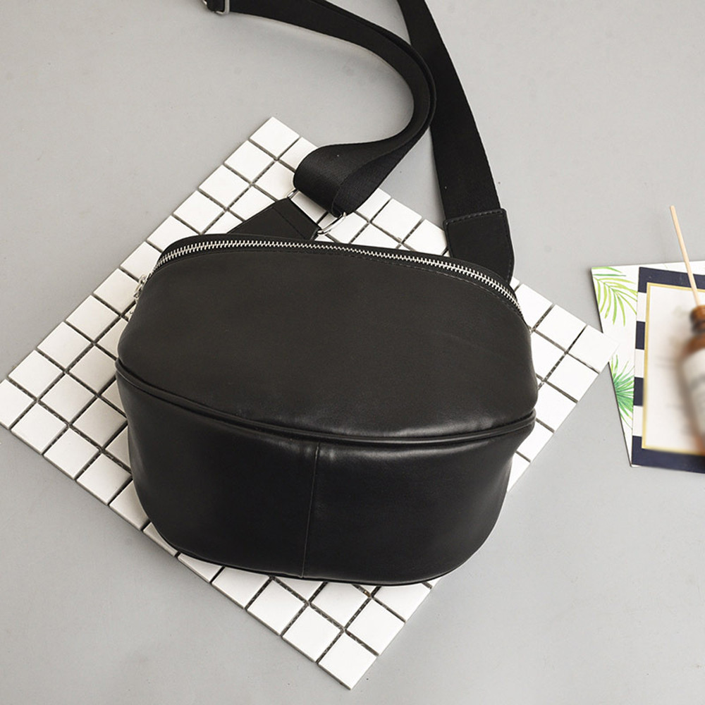 Fashion Women Pure Color Shell Leather Messenger Shoulder Bag Chest Bag