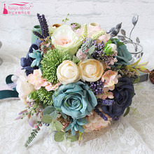 Rose Forset Bridal Bouquets New Wedding Home Decoration Artificial Bride Holding Brooch Bouquet Bride Photography ZBH025