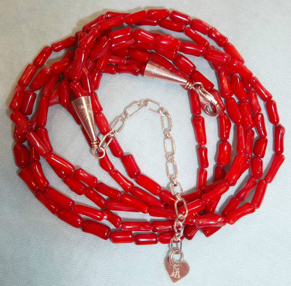 0946 KING RED CORAL TRIPLE STRAND NECKLACE STERLING