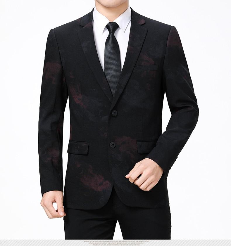 WAEOLSA Stylish Men Slim Fit Blazers Dark Flroal Print Suit Jackets Man Fashion Blazer Masculino Smart Casual Costume Mens Blazers Office (4)