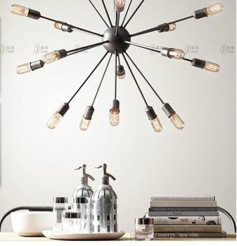 Black E27 12 heads 20 heads Creative chandelier Retro industrial edison lamp living room dining satellite branch lamp multi head