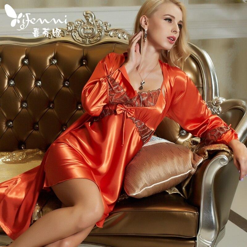Xifenni Robe Sets Female High Quality Faux Silk Sleepwear Women Fashion Trend Two-Piece Lace Long-Sleeve Bathrobes 1521
