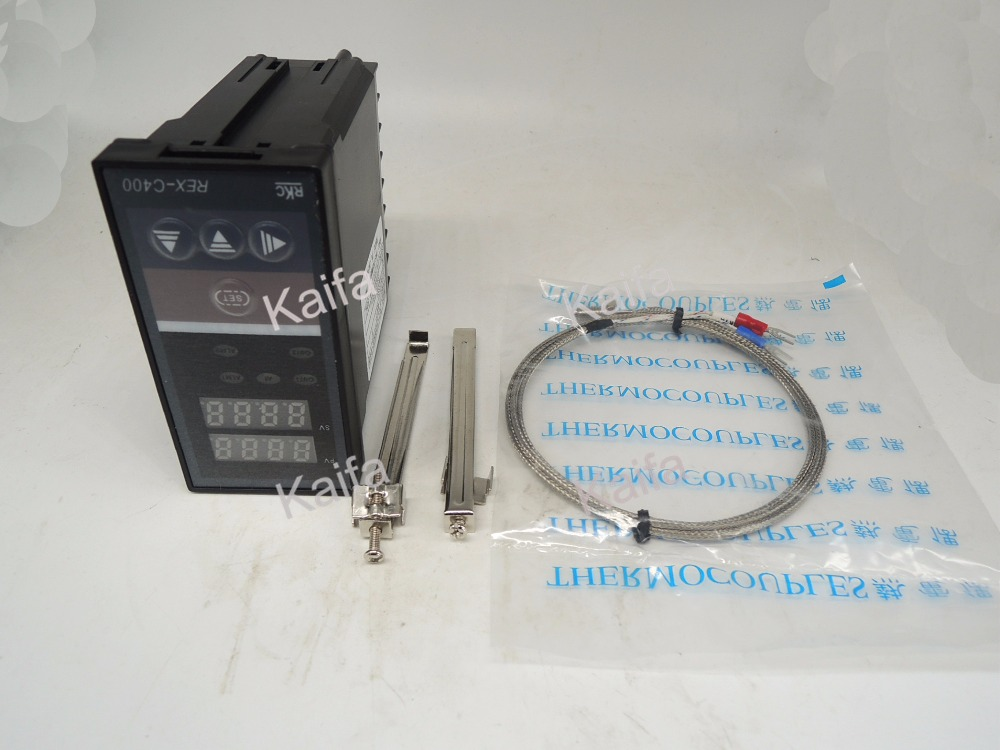 ,Digital PID Temperature Controller Thermostat REX-C400  + 1M K Thermocouple Probe,100V~240V AC