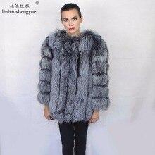 Linhaoshengyue Length70CM abrigo de piel de zorro auténtica, abrigo de piel Natural, abrigo de piel auténtica de zorro, mujeres de invierno