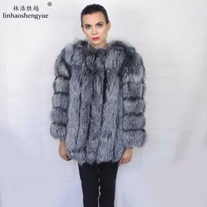 Image 1 - Linhaoshengyue Length70CM genuine fox fur coat,Natural fur coat, real fox fur coat,winter women