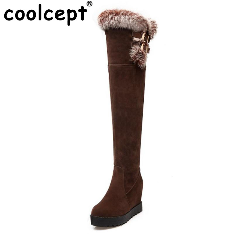 Coolcept Size 34-43 Women Thick Fur High Wedges Boots Over Knee Snow Boots Inside Heel Cold Winter Long Botas Women Footwears