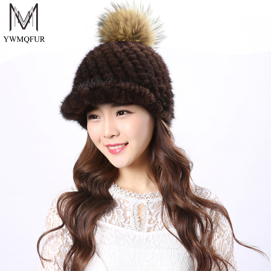 YWMQFUR Real fur hat for winter knitted women mink fur cap with Raccoon fur pompom casual hats new fashion lady headdress H54